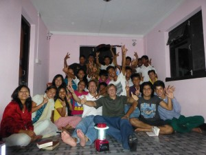 Having fun with College students, Kathmandu Nepal 2012